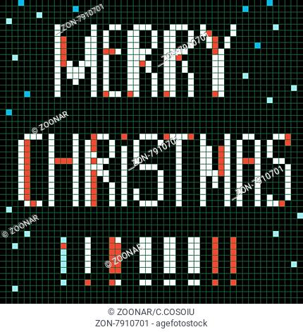 Christmas greetings card, pixel illustration of a scoreboard composition with digital text