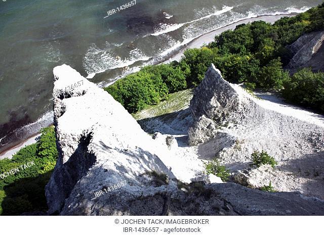 Koenigstuhl chalk cliff, cliffs, chalk coast, Baltic Sea coast on the Jasmund peninsula, Nationalpark Jasmund national park, northeast of the Ruegen island