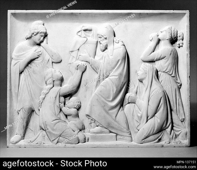 Priam holding the golden urn with the remains of Hector. Artist: Giovanni Maria Benzoni (Italian, Songavazzo, near Clusone (Lombardy) 1809-1873 Rome); Date:...