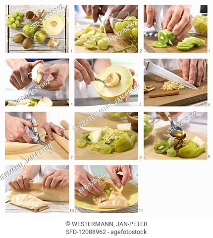 How to make green fruit parcels with kiwi, grapes, pears and melon
