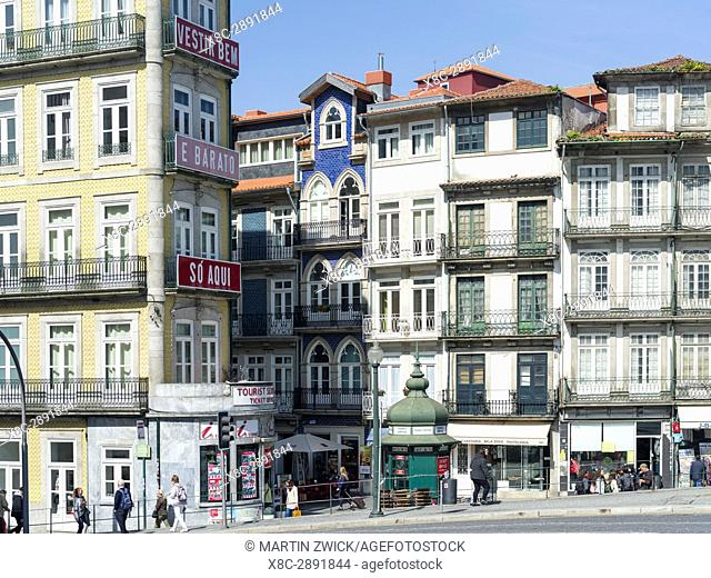 The old town near train station Sao Bento. City Porto (Oporto) at Rio Douro in the north of Portugal. The old town is listed as UNESCO world heritage