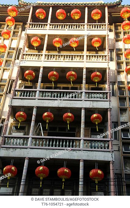 lanterns hanging at at a temple during Chinese New Year in Bangkok Thailand