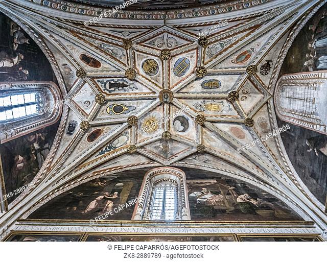 The gothic vault of Chapel Our Lady of Rosary in Cathedral of Our Lady of Assumption with the neoclassicistic frescoes, take in Segovia, Spain