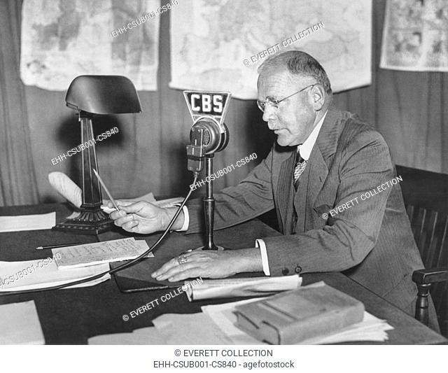 H.V. Kaltenborn at the CBS microphone, ca. 1938-1940 as Europe moved toward war. During the Munich Crisis, in Sept. 1938