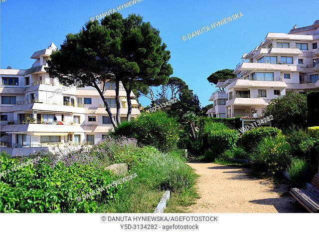 Tourist apartments in Sant Feliu de Guixols resort, Sant Feliu de Guixols, Costa Brava, Baix Empordà, Catalonia, Spain, Europe