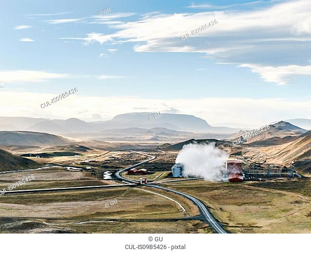 Landscape view with geothermal power station near Viti Crater, Krafla, Iceland