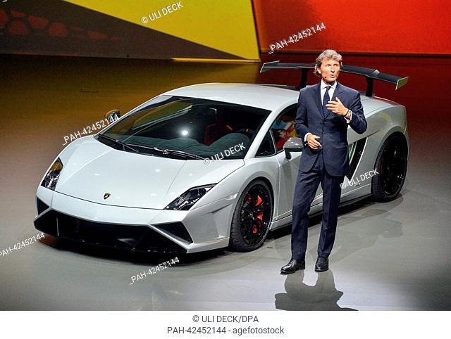 Chairman of car manufacturer Lamborghini, Stephan Winkelmann, presents the Lamborghini Gallardo LP 570-4 Squadra Corse ahead of the forthcoming IAA - Frankfurt...