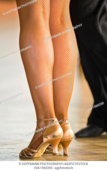 Close up of a female dancer's legs at a dancing competition, Germany, Europe
