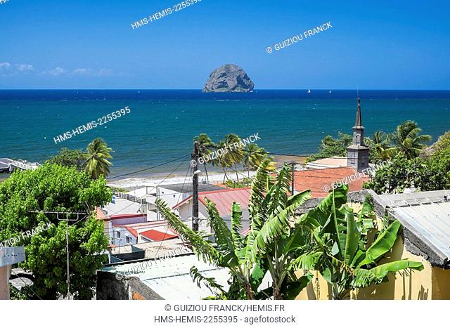 France, Martinique, Le Diamant, Saint-Thomas church and Diamant rock, a volcanic plug 175 meters high