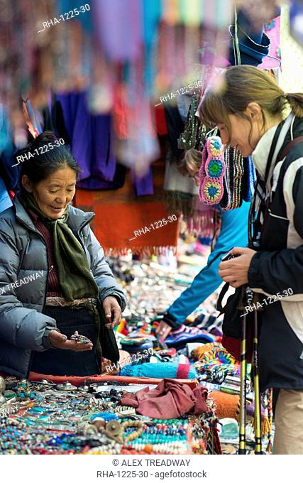 Shopping for souvenirs in Namche Bazaar, the main town during the Everest base camp trek, Nepal, Asia