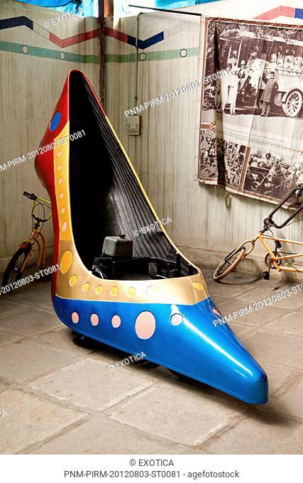 High heels shaped car in a museum, Sudha Car Museum, Hyderabad, Andhra Pradesh, India