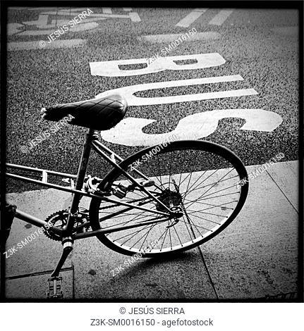 Bike in Gran Via, Madrid, Spain