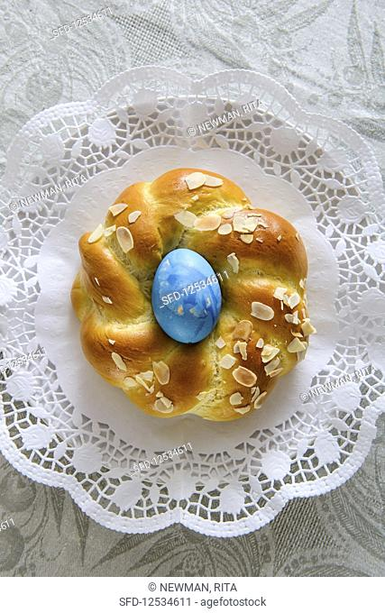 An Easter nest made of sweet yeast dough