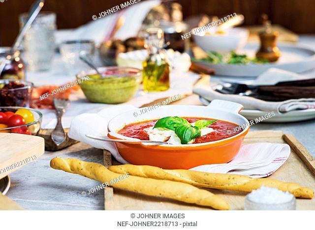 Tomato sauce on table
