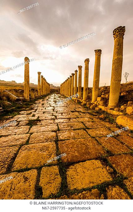 "The South Decumanus at Jerash once served as the Roman town's main eastâ. ""west axis. Greco-Roman Ruins, Jerash, Jordan"