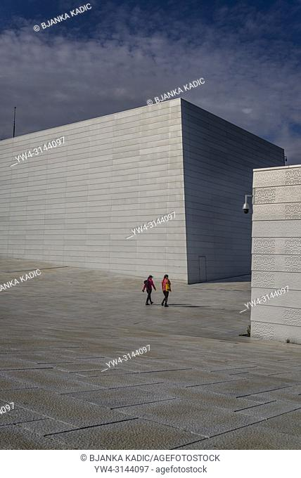 Oslo Opera House, opened in 2008, The roof plaza and Stage Tower, Oslo, Norway