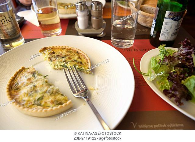 Vegetable quiche at a cafe in the Vinohradska neighborhood of Prague, Czech Republic