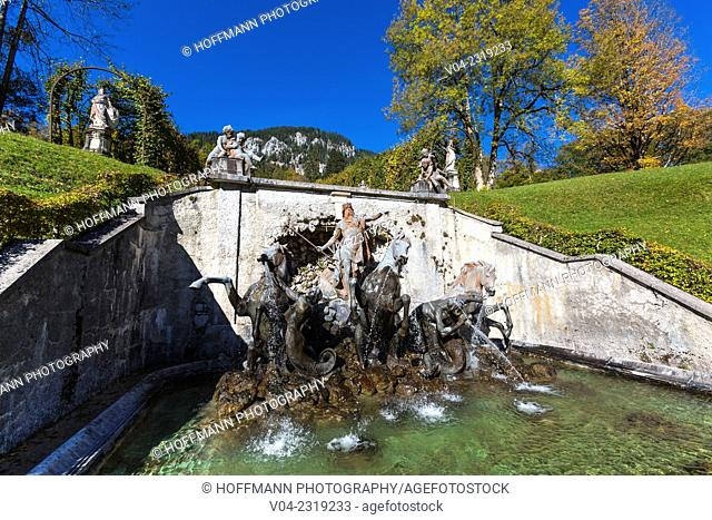 Fountain on the grounds of Linderhof Palace (Linderhof Castle), Bavaria, Germany, Europe