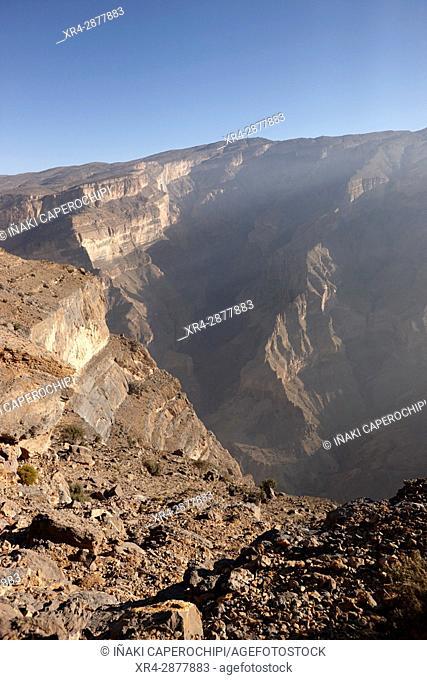 Landscape of Wadi Nakhr canyon, Jebel Shams Plateau, Oman