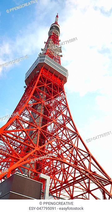 Tokyo tower red and white color steel metal and blue sky