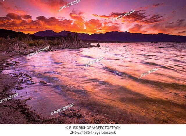 Sunset over the Sierra Nevada from Mono Lake, Mono Basin National Scenic Area, California USA