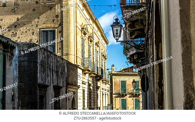 Taormina (ITALY). The very old sicilian houses and street
