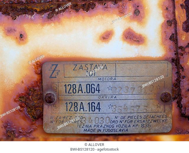 car wreck brand Zastava, label with serial number