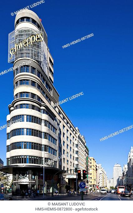 Spain, Madrid, Gran Via, downtown main artery, Carrion edifice designed by architects Luis Martinez-Feduchi and Vicente Eced y Eced in the 1930s