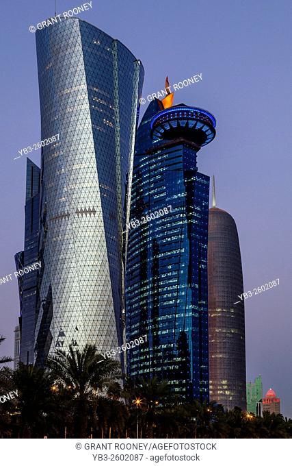 The Doha Skyline At Dusk Taken From The Corniche, Doha, Qatar