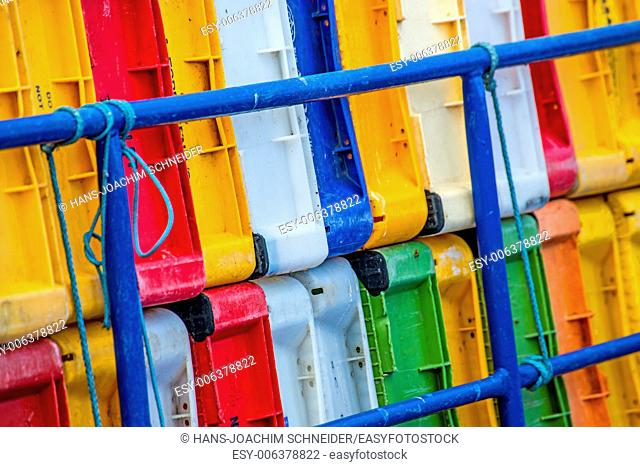boxes on a fishing cutter in the seaport of Kolobrzeg, Poland
