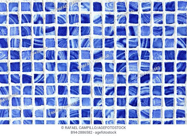 Blue ceramic tesseras, tesserae or tessella, individual tile, usually formed in the shape of a cube, used in creating a mosaic