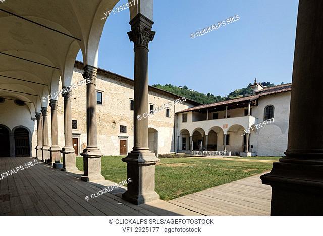 Courtyard of the historical monastery of Astino, Longuelo, province of Bergamo, Lombardy, Italy, Europe
