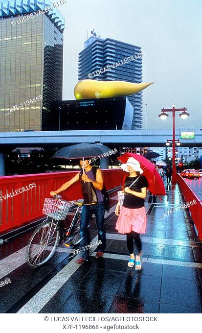 Asakusa  Azumabashi Bridge  In background Asahi Beer building Tokyo city, Japan, Asia