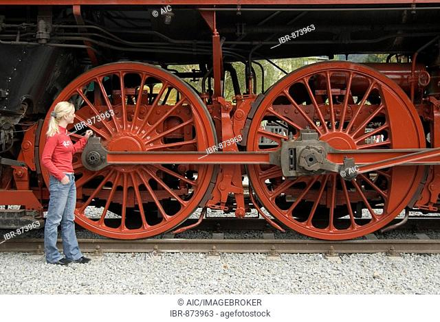 Drive wheels of a steam locomotive, Ampflwang, Upper Austria, Europe