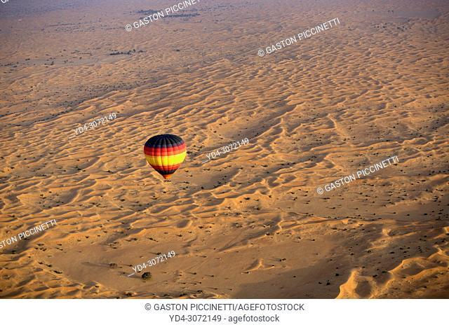 Ballon in the desert. Dubai Desert Conservation Reserve. Aerial view, Dubai, United Arab Emirates