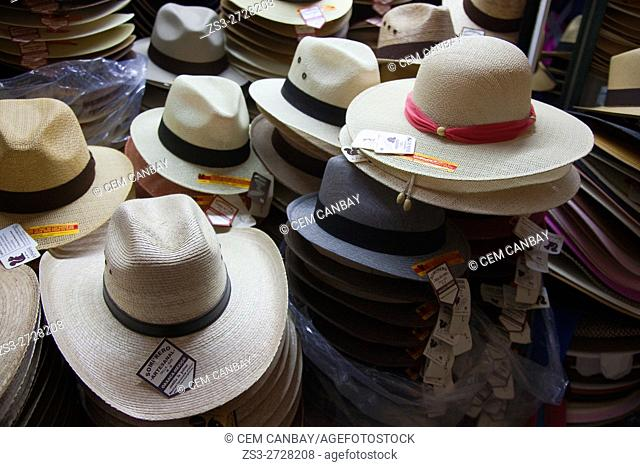 Straw hats for sale at a shop in the historic center, Oaxaca, Oaxaca State, Mexico, Central America