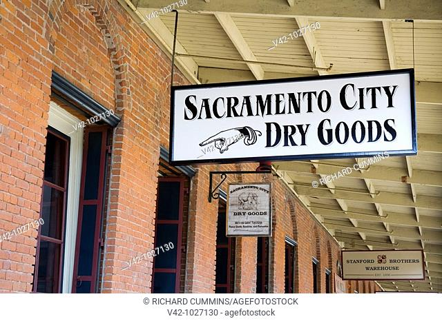 Sacramento City Dry Goods Store in Old Town Sacramento, California, USA