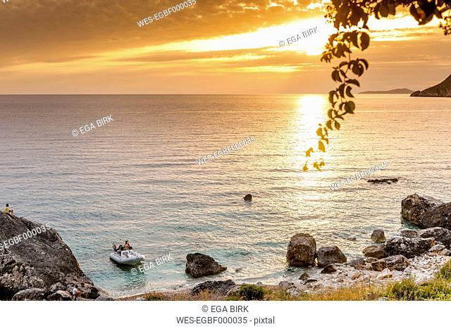 Greece, Corfu, Agios Georgios bay in the evening