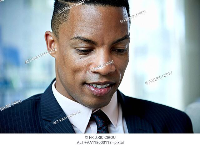 Close-up of businessman in office
