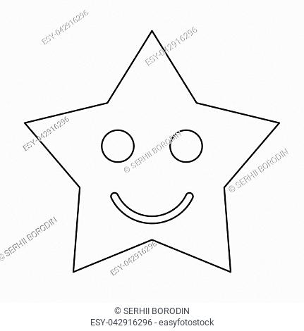 Smiling star it is black color path icon