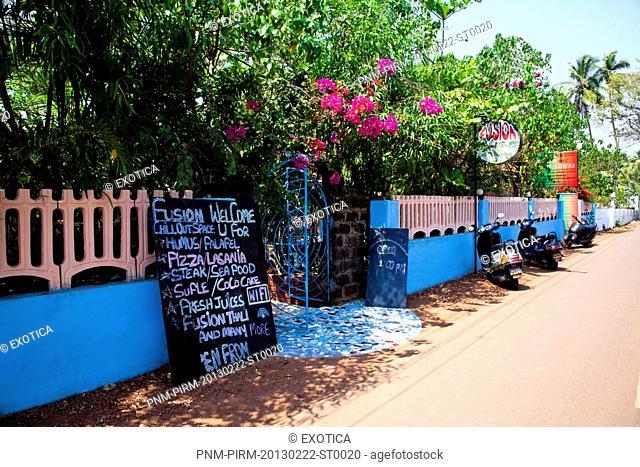 Menu at the entrance of a restaurant, Fusion, Vagator, Bardez, North Goa, Goa, India