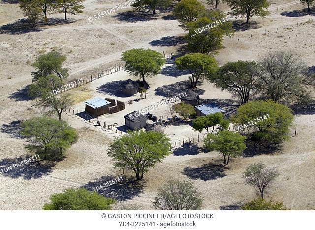 Village close to the Okavango delta, aerial view, Botswana