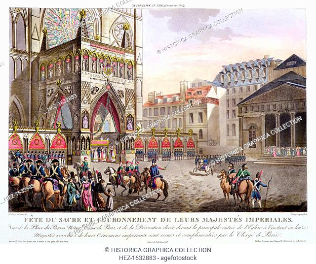 'Sacred Festival and Coronation of their Imperial Majesties', Paris, 1804 (1806). View of the Place du Parvis and Notre Dame