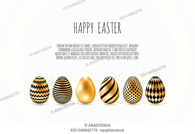 Happy Easter.Set of Easter eggs with different texture on a white background.Spring holiday. Vector Illustration.Happy easter eggs