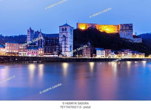 Belgium, Wallonia, Huy, Huy Citadel and Notre Dame Church at night