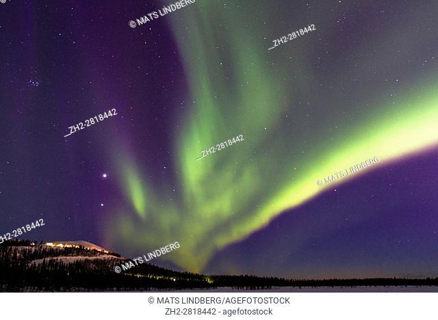 Northern light, Aurora borealis, over Mount Dundret, Gällivare, Swedish Lapland, Sweden