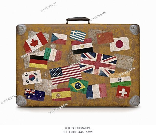 Vintage suitcase covered with flag stickers, computer illustration