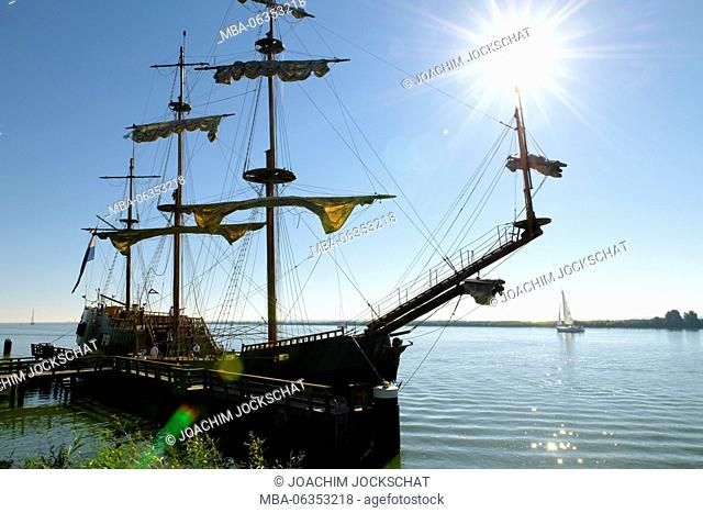 barque at anchor in the harbour of Enkhuizen, Noord Holland, Ijsselmeer, the Netherlands