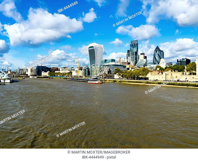 Thames with skyline including The Gherkin, The Walkie Talkie and Leadenhall skyscrapers, London, England, United Kingdom