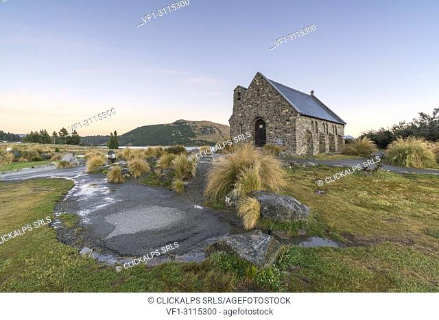 Church of the Good Shepherd at dusk. Lake Tekapo, Mackenzie district, Canterbury region, South Island, New Zealand